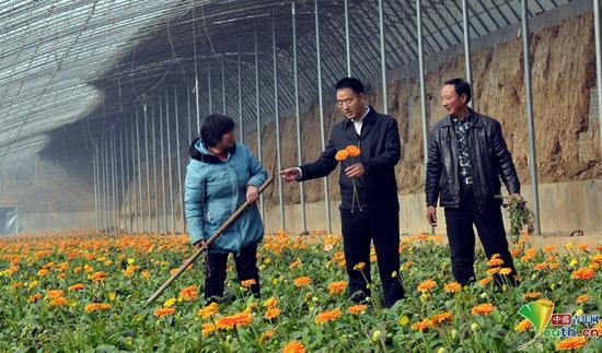 裴春亮帮扶鲜花种植户。本人供图