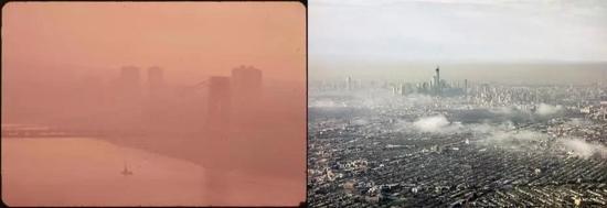 ▲美国纽约市1973年与2013年对比,图片来自美国国家环境保护局。