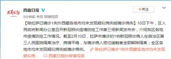 除拉萨确诊1例外 西藏各地市均未发现确诊病例图片