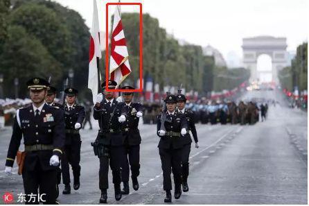 日本自卫队亮相法国阅兵彩排。