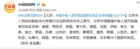 北京:境外输入高风险国家和地区名单调整为25个图片