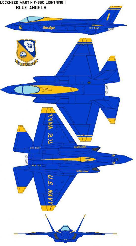 """资料图片:军迷绘制的使用""""蓝天使""""队涂装的F-35C设想图。(图片来源于网络)"""