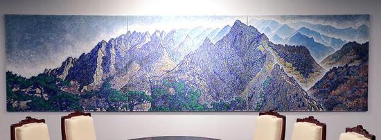 图注:画家申璋湜的作品《从上八潭看金刚山》