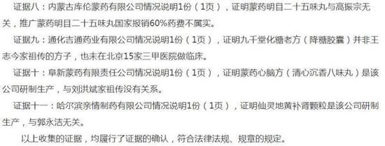 吉林省工商局处罚决定书中罗列的证据目录