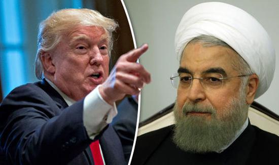 美国总统特朗普(左),伊朗总统鲁哈尼(右)