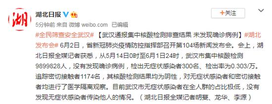 武汉通报集中核酸检测排查结果 未发现确诊病例图片