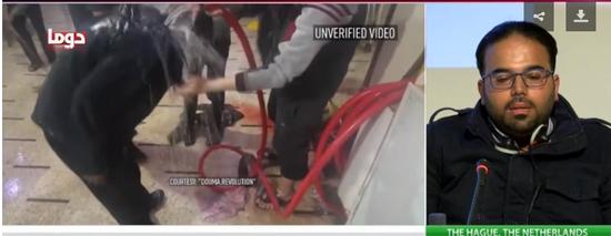 """左边为""""白头盔""""组织拍摄的冲洗视频 右边是目击了整个过程的当地工作人员 图源:近日俄罗斯"""