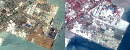 铁山港码头冶炼废渣堆存卫星对比图