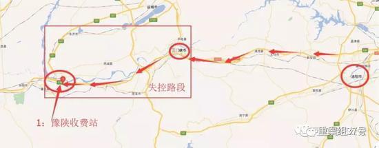 ▲薛先生驾驶的失控奔驰车行驶路线图。图/河南高速公安微信公号