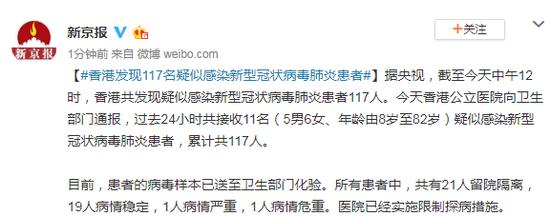 香港发现117名疑似感染新型冠状病毒肺炎患者图片