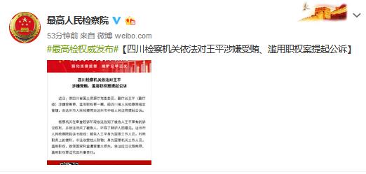 四川省国土资源厅原副厅长王平被提起公诉