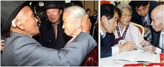 10月20日下午,离散家属重逢活动在金刚山离散家属会面所举行。来自朝鲜的吴仁岁见到时隔65年重新相聚的妻子李顺圭,轻抚着妻子的头发(左图)。朝鲜离散家属中最高龄的蔡勋植(最右)与妻子李玉燕及儿子蔡希阳(最左)相聚(右图)。两对夫妻中的丈夫们都在朝鲜结了婚,但是在韩国的妻子们却都没有再婚。/Newsis 供图