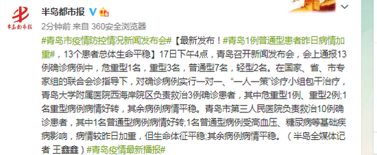 青岛1例普通型患者昨日病情加重,13个患者总体生命平稳图片