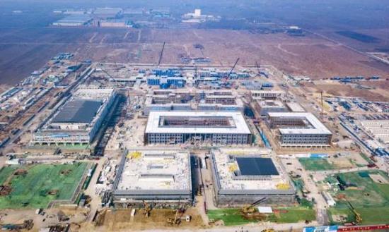 2月18日,雄安市民服务中心项目建设现场鸟瞰图。雄安发布微信公号 图