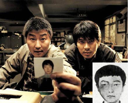 影片 《杀人回忆》 剧照与嫌疑人照片。   图片来自网络