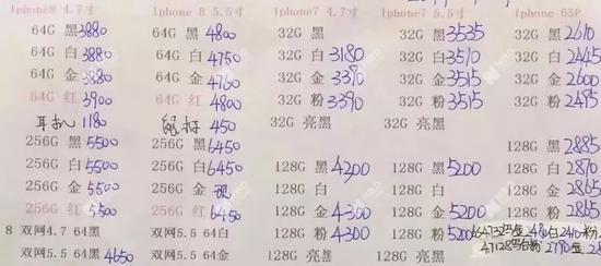 劉宇提供的報價單(老機型),注意,這是渠道價還不是最終售價 (圖片來源:受訪者供圖)