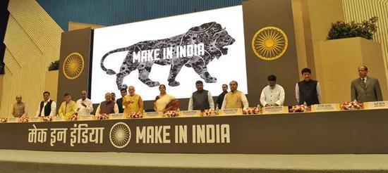 """▲资料图片:2014年9月,莫迪宣布启动""""印度制造""""计划。"""