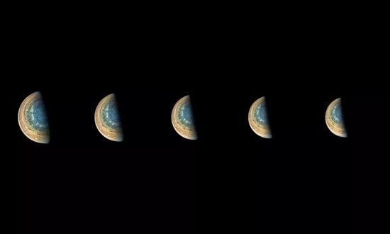 △NASA公布的木星南极照片(图自视觉中国)