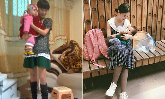 左:10年前,廖智抱着女儿虫虫,虫虫已在地震中去世 右:现在,廖智养育着第二个女儿