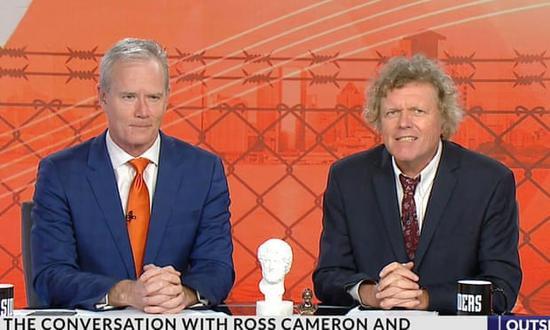 """""""局外人""""的两名主持人罗斯·卡梅隆(左)和罗文·迪安 图自天空新闻"""
