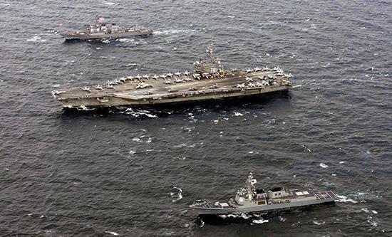 """美国海军""""里根""""号航母编队。东方IC 资料图"""