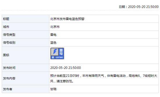 北京市发布雷电蓝摩鑫注册色预警,摩鑫注册图片