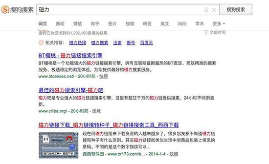 """搜狗搜索引擎中输入""""磁力""""显示的搜索结果 本文图均为 看法新闻 图"""