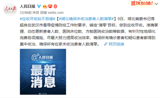 湖北省委书记:确保所有在家未收治患者人数清零图片