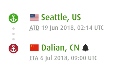 "www.fleetmon.com显示的""飞马峰""号最近一段航程。"