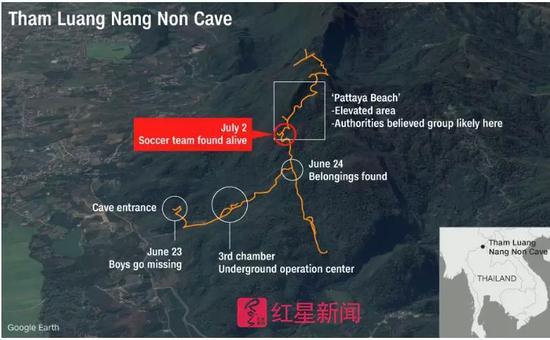 ▲红色标注地点为被困人员被发现的位置 图据CNN