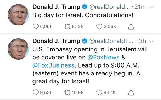 """特朗普发文称迁馆是以色列的""""大日子""""(图截自推特)"""