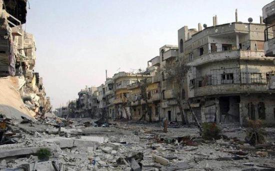 圖爲被戰火摧毀的一處敘利亞街區