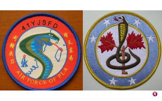 解放军福建空军第41旅和台空军第42作战队的臂章上都有眼镜蛇的图案