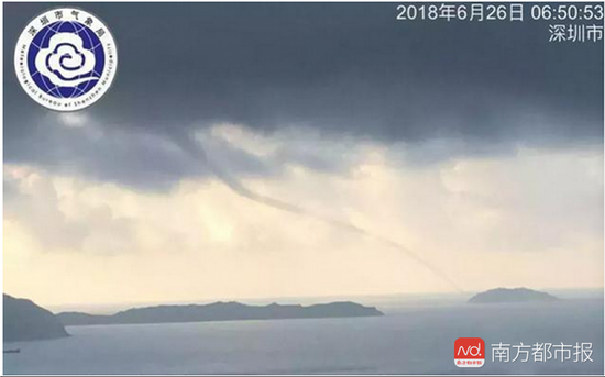 2018年6月26日,西涌,龙吸水,深圳市气象局。 网络图