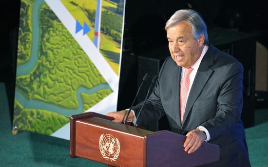当地时间9月23日,美国纽约,联合国气候行动峰会召开。联合国秘书长古特雷斯发表讲话。图/视觉中国