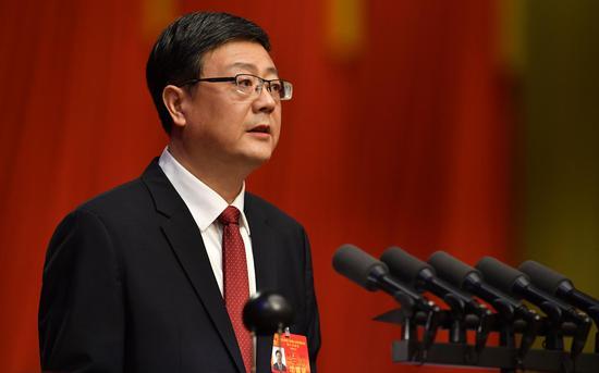 2020年1月12日,北京市第十五届人民代表大会第三次会议召开第一次全体会议。北京市市长陈吉宁作政府工作报告。新京报记者 吴江 摄