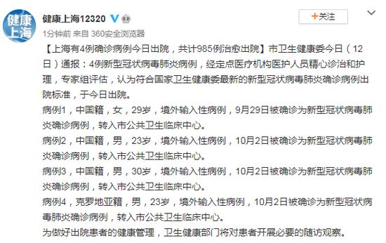 上海有4例确诊病例今日出院 共计985例治愈出院图片