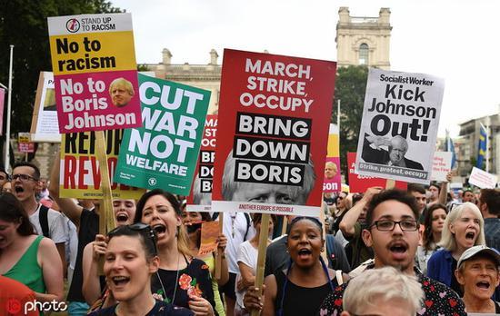 约翰逊提出停息议会五周后,英国上周终多个都会呈现抗议游止 @IC Photo