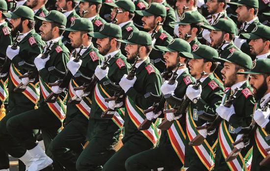 (资料照片)伊朗伊斯兰革命卫队成员。图/法新