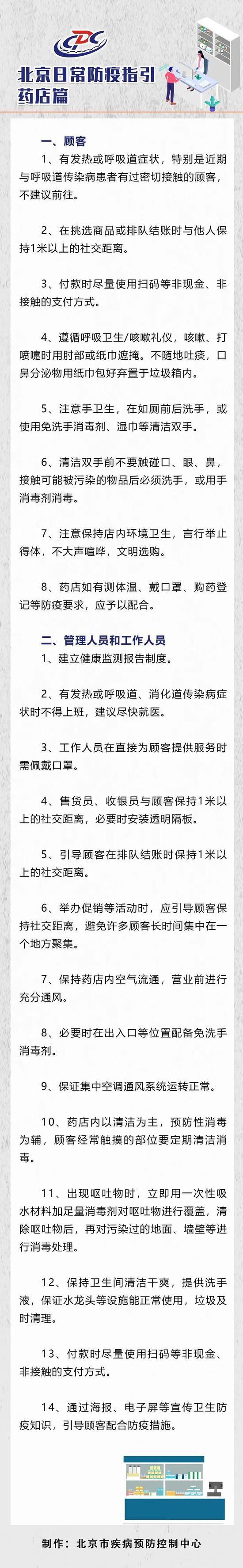 北京疾控:药店员工有发热或呼吸道、消化道传染病症状时不得上班图片