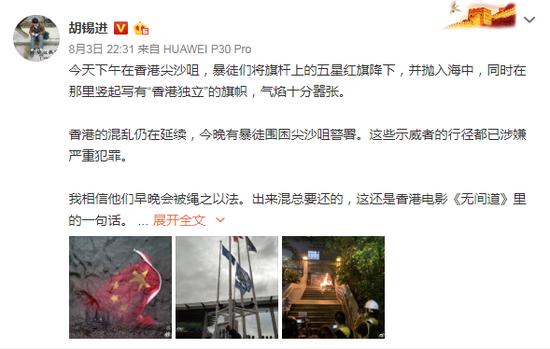 胡锡进:乱港暴徒早晚会被绳之以法