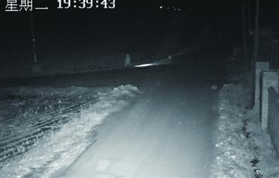 10岁男孩一个人打着手电走在乡间公路上。 警方供图