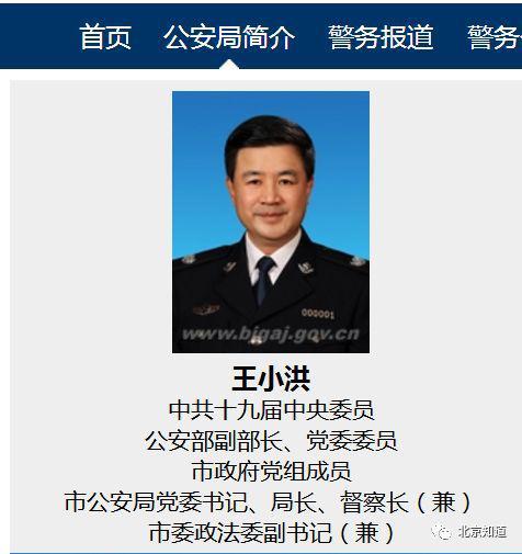 市政府党组成员、市公安局局长王小洪。北京市公安局官网截图