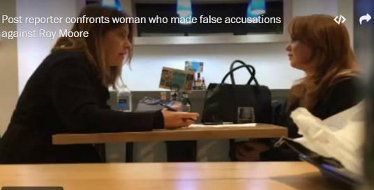▲《华盛顿邮报》记者(左)和做出虚假指控的女子对峙。图据《华盛顿邮报》