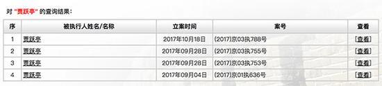 贾跃亭已四次被列入被执行人名单中
