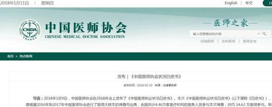 ▲图片来源:中国医师协会官网截图