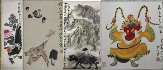 ▲在董某辉、曹某东等7名送拍人及多名买受人处扣押的53幅字画。