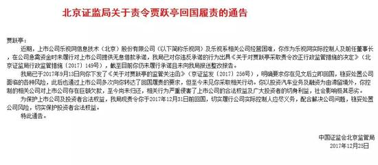 ▲贾跃亭被要求12月31日前回国。图片来自/中国证监会北京监管局官网
