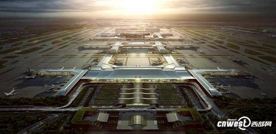 西安咸阳国际机场东航站楼(T5航站楼)规划效果图(图源:西部网)