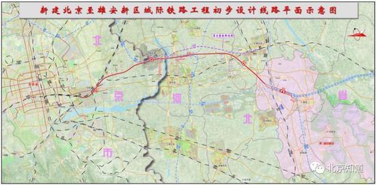 北京至雄安新区城际铁路平面示意图。来源:中国铁路设计集团官网